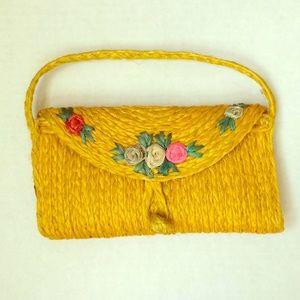 💐Vintage y2k yellow floral wicker mini purse 💐